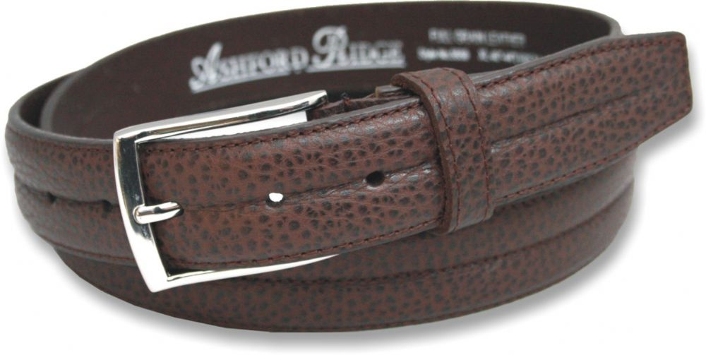 Mens 32mm Full Grain Leather Brown Centre Stitched Belt